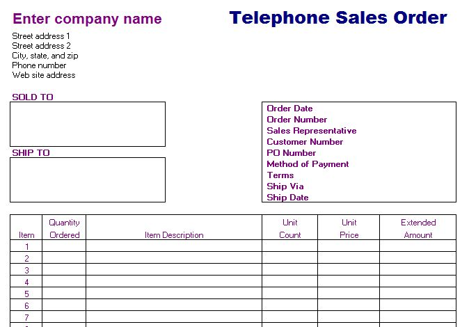 sales order forms - Template