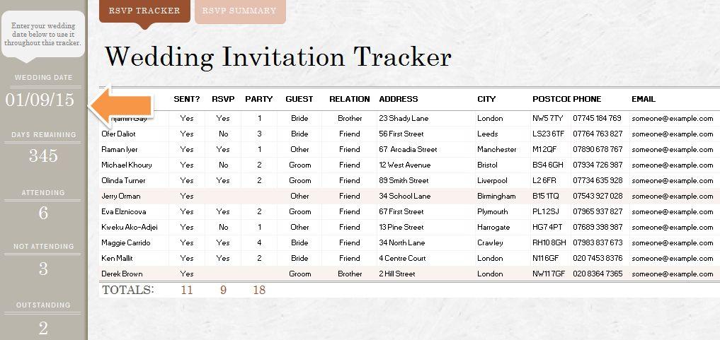 5 Free Wedding Invitation List Templates - Excel PDF Formats