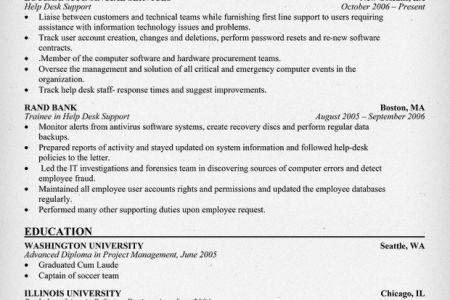 Help Desk Support Resume Sample, Help Desk / Technical Support ...
