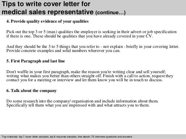 Medical sales representative cover letter