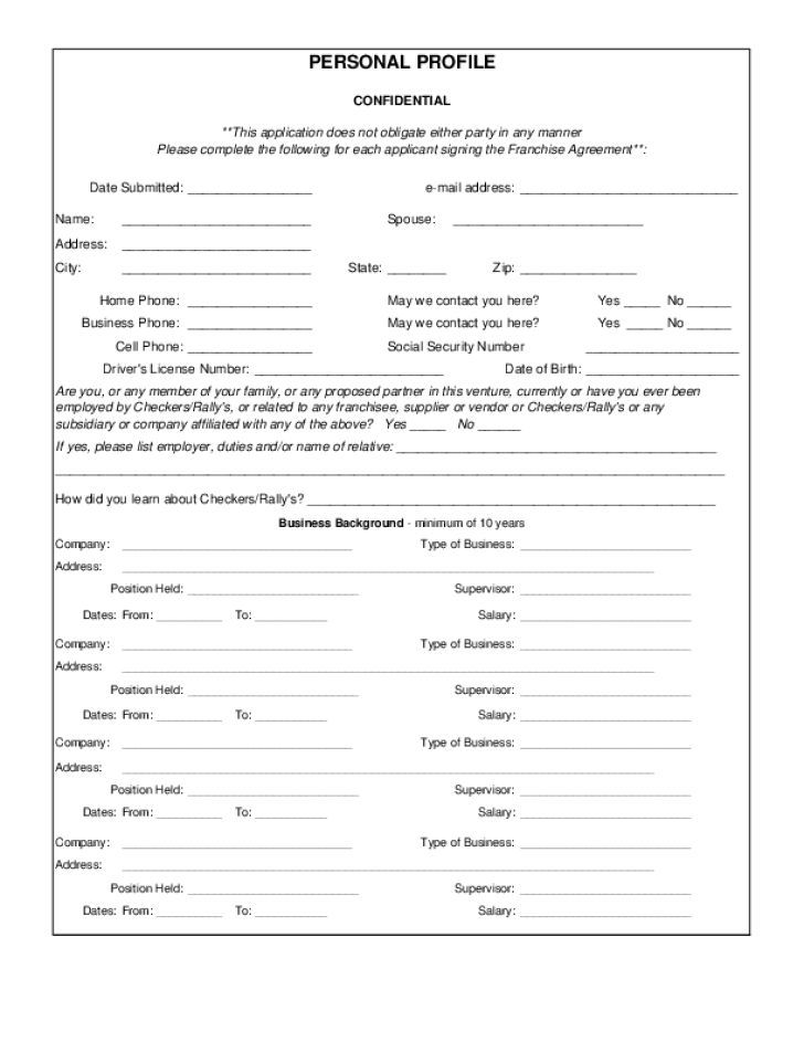 Free Printable Checkers Drive-In Job Application Form Page 3