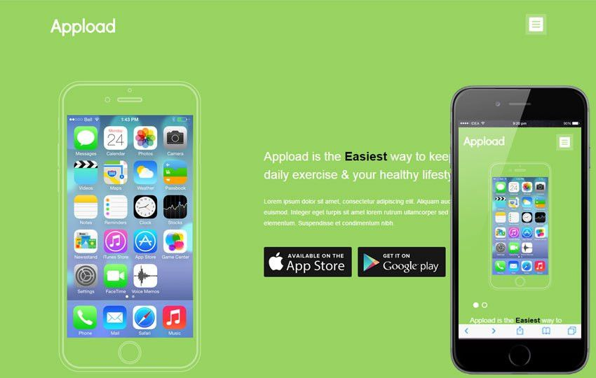 Appload a Mobile App based Flat Bootstrap Responsive Web Template ...