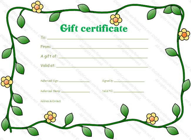 Green flowers border gift certificate template