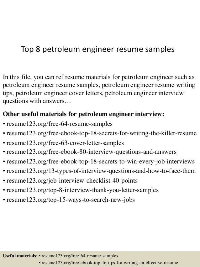 Petroleum Engineer Sample Resume - Resume CV Cover Letter