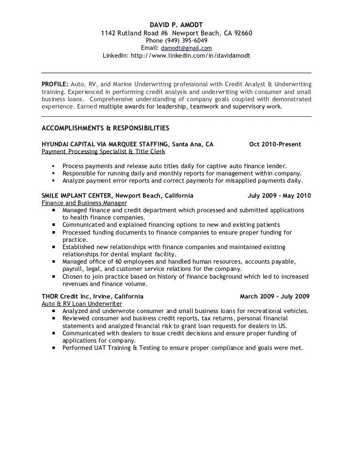 Underwriting & Credit Analyst Resume