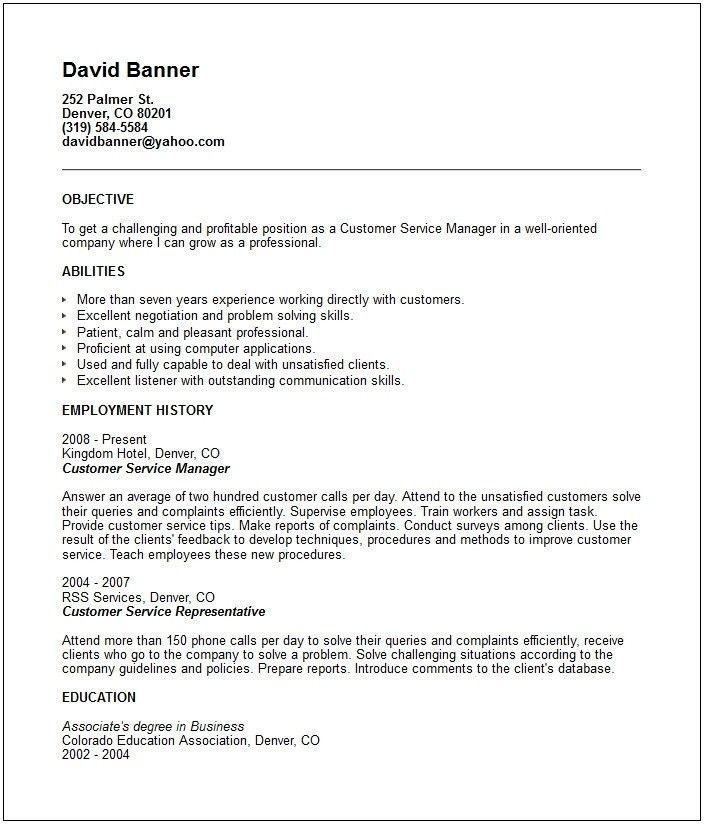 Customer Service Objective Resume Sample | jennywashere.com