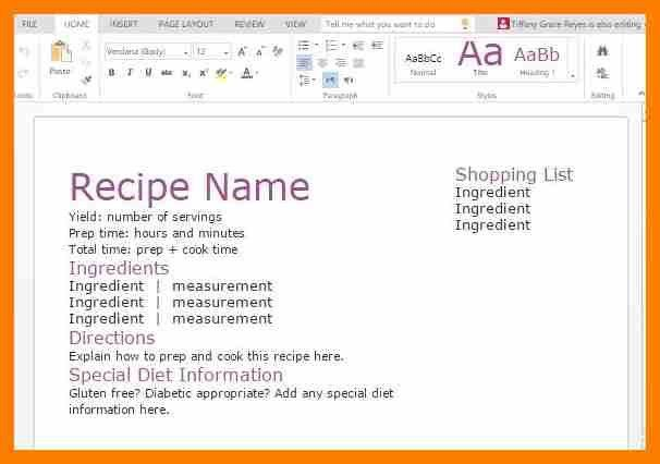 8+ free recipe templates for word   hostess resume