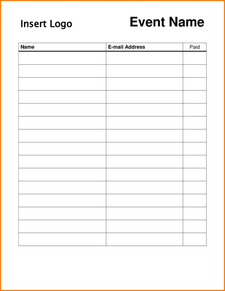 Simple Sign Up Sheet Template Samples : vlashed