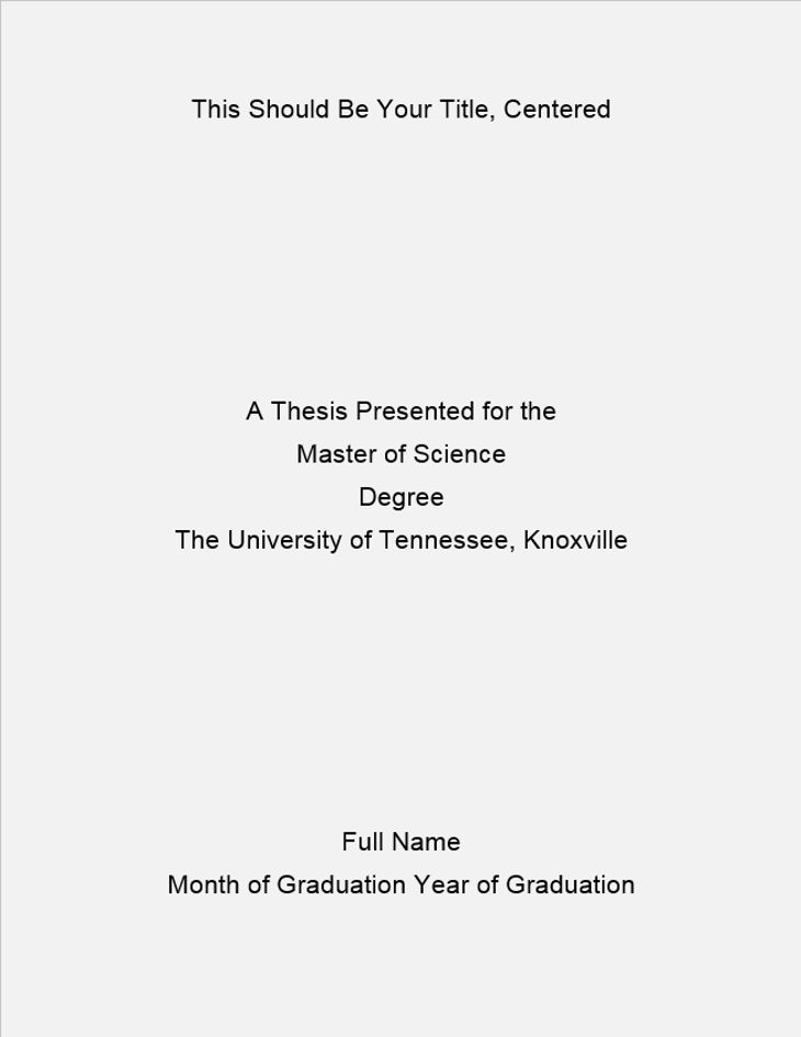 Formatting of the Title Page | The Graduate School