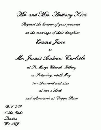 Wedding Card Sample In English   Wedding Gallery   Pinterest ...