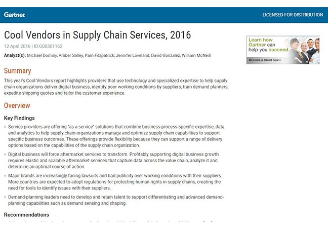 "OnProcess Named ""Cool Vendor"" in Supply Chain Services by Gartner ..."