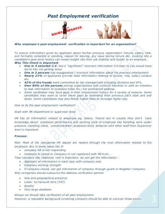 Employee verification major steps