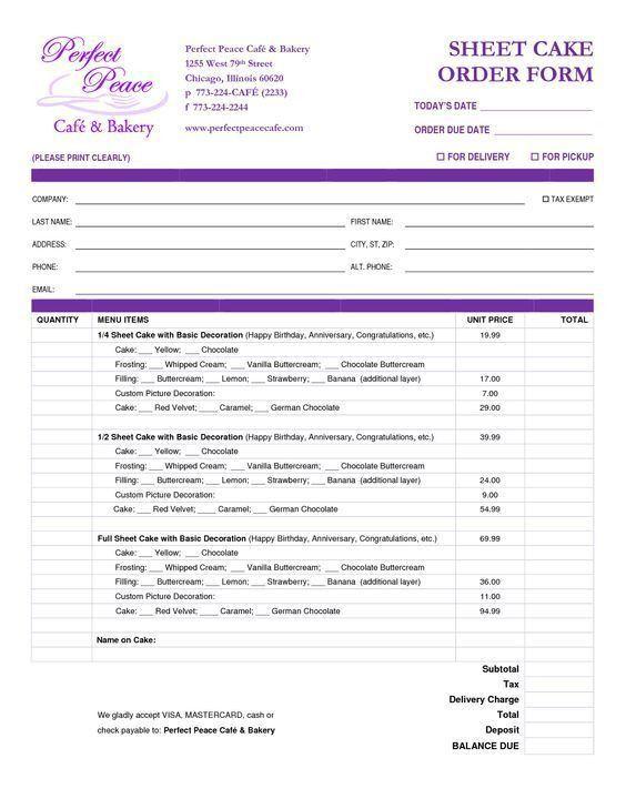 12 best Order Forms images on Pinterest | Order form, Cake pricing ...