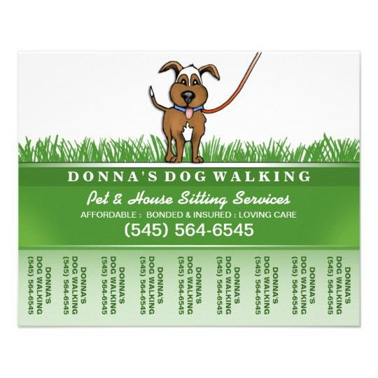 Dog Walker & Pet Sitting Tear Off Flyer 5.6 x 4.5 | Zazzle.com