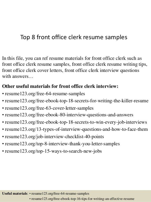 Office Clerk Resume Entry Level Office Clerk Resume Sample Resume - Front desk clerk cover letter