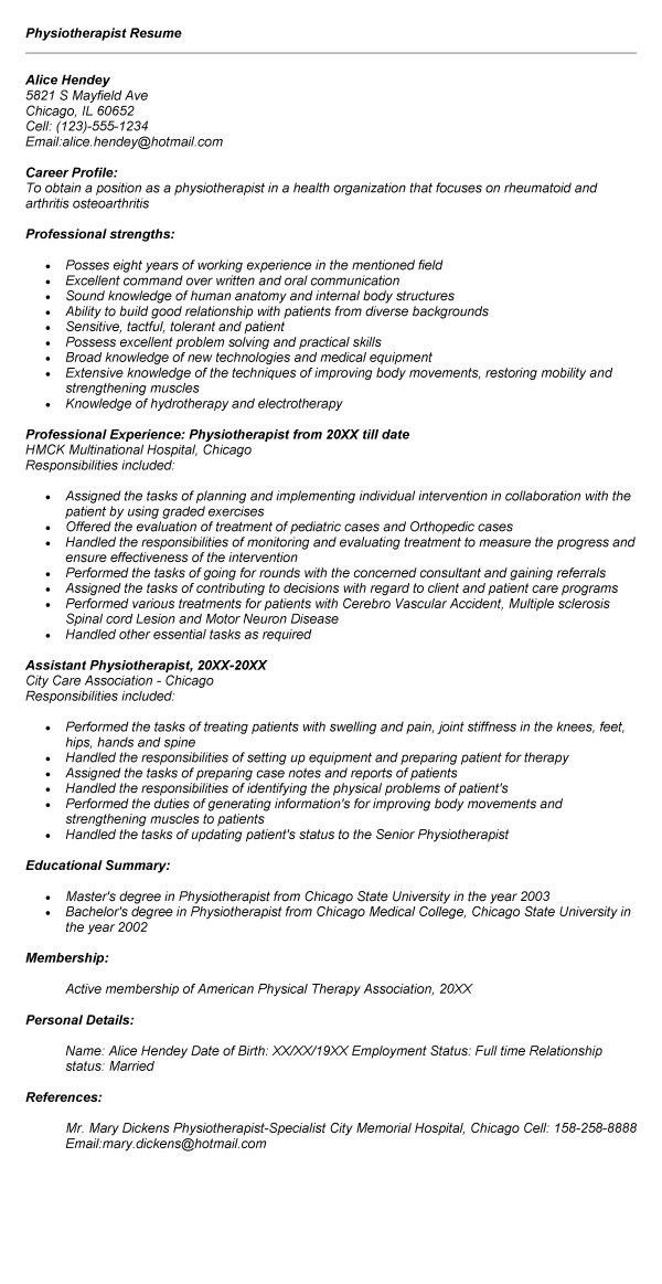 Sample Resume For Fresher Physiotherapist - Augustais