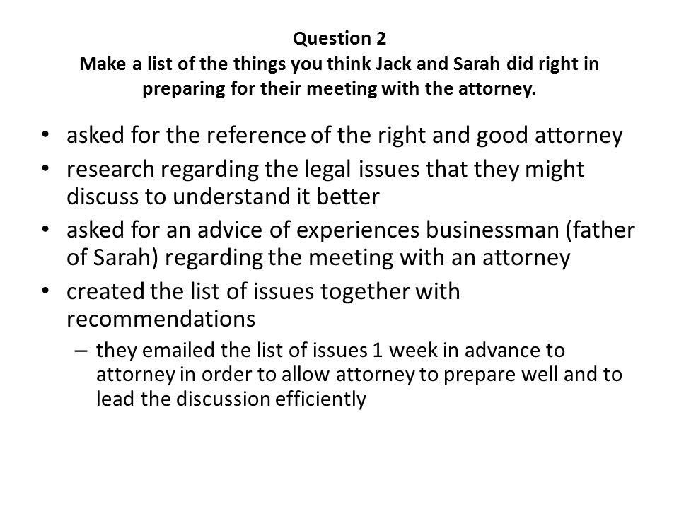 Question 1 Complete Jack and Sarah's list for them, including the ...