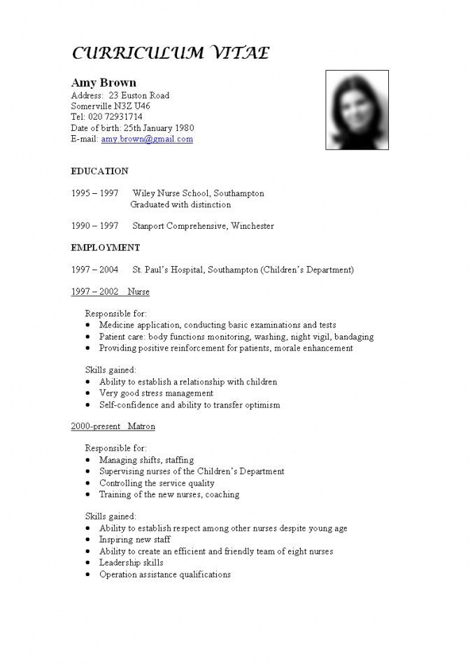 Templates Curriculum Vitae Cv Template Example Job Application ...
