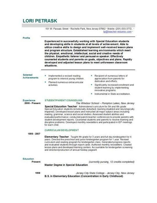 Teaching Resume Objective - Best Resume Collection