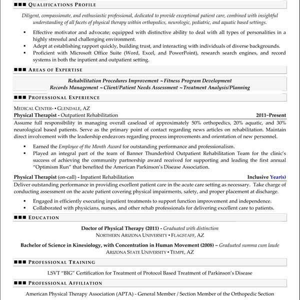 Attractive Design Physical Therapy Resume Examples 9 Example ...