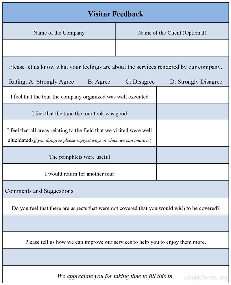 Visitor Feedback Form , Sample Visitor Feedback Form | Sample Forms