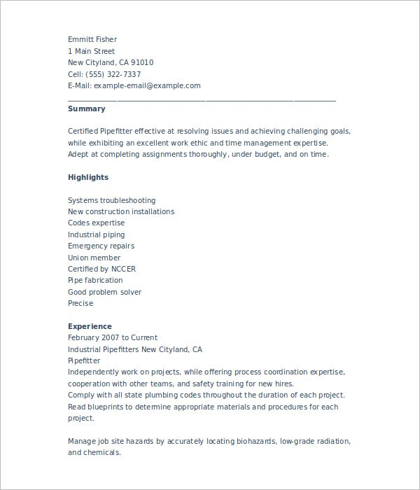 resume pipe fitter resume pipe fitter cv template resume pipe ...