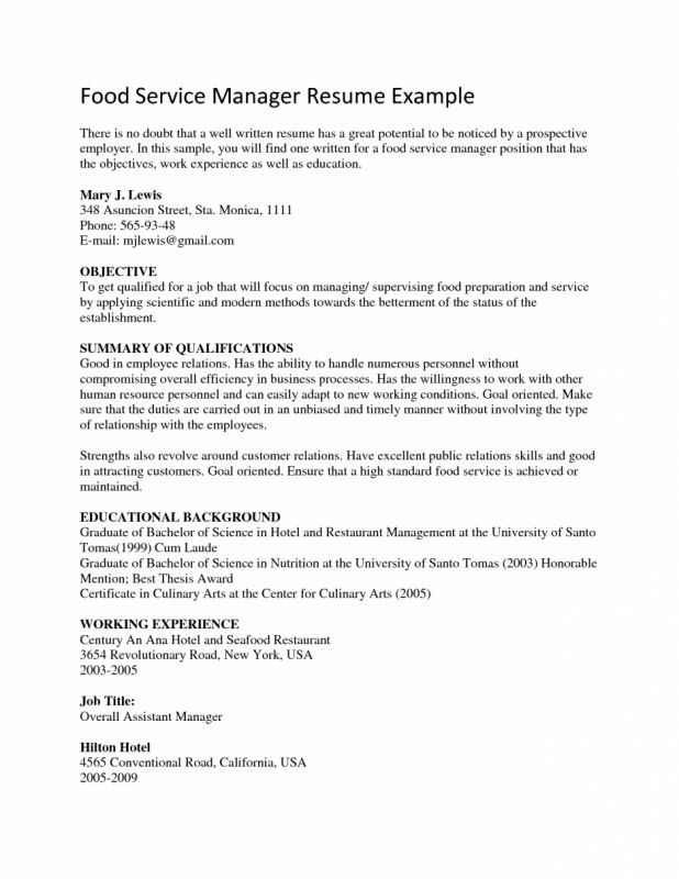 Objective For Food Service Resume | Samples Of Resumes