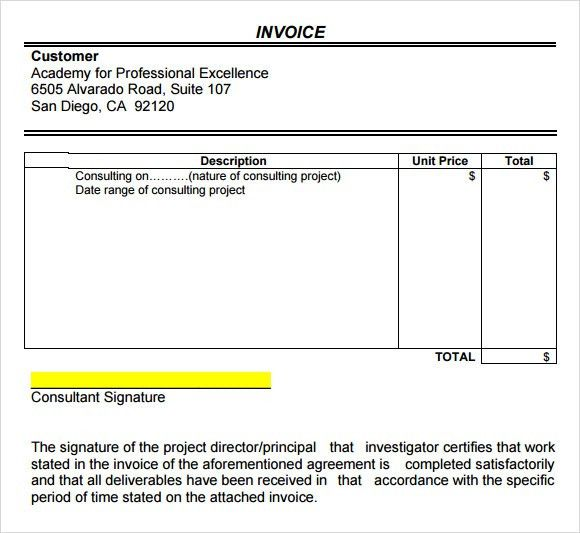 Sample Consulting Invoice - 7+ Documents in Word, PDF