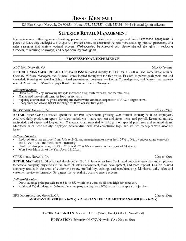 Retail Management Resume Examples And Samples | Samples Of Resumes