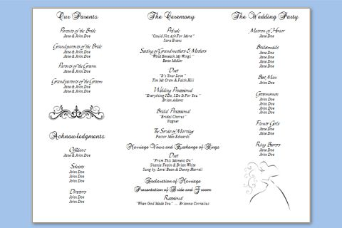 Three Column Wedding Program Template – Wedding Programs Templates