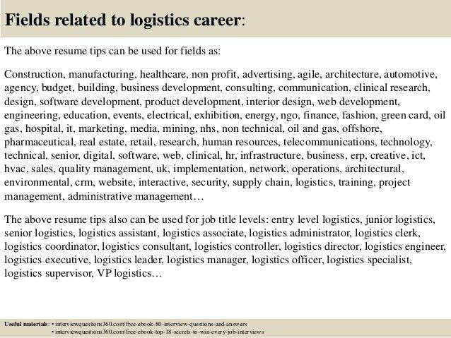 Logistics Resume Objective Logistics Resume Sample Resume Sample