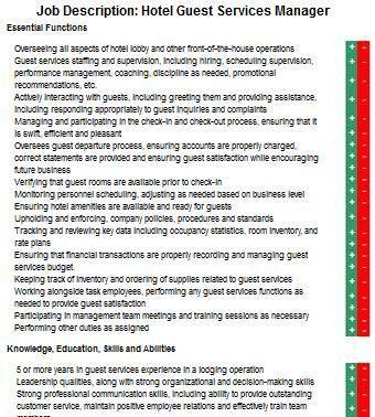 Hotel Guest Service Manager Job Description