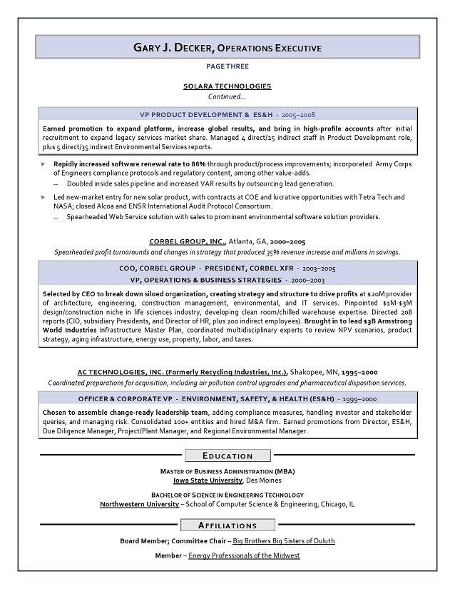 Sample COO Resume - ES&H, Energy, Construction COO resume service ...