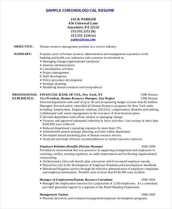 Resume Chronological Format. Chronological Format Resume ...
