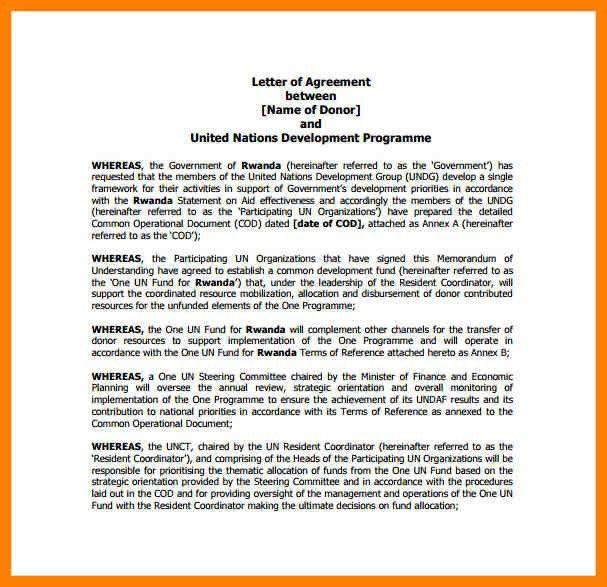 11+ letter of agreement format | sales resumed