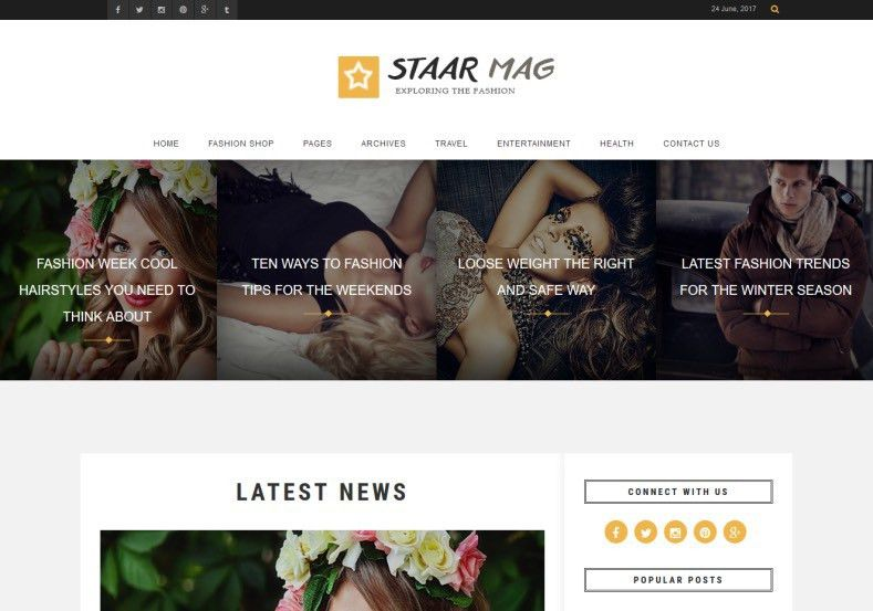Fashion Staar Blogger Template Responsive 2017