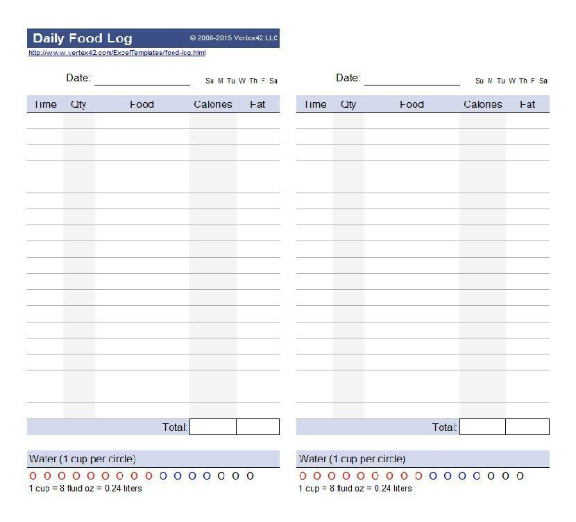 Daily Log Templates. 24-Hour Food Log Template Food Log Template ...