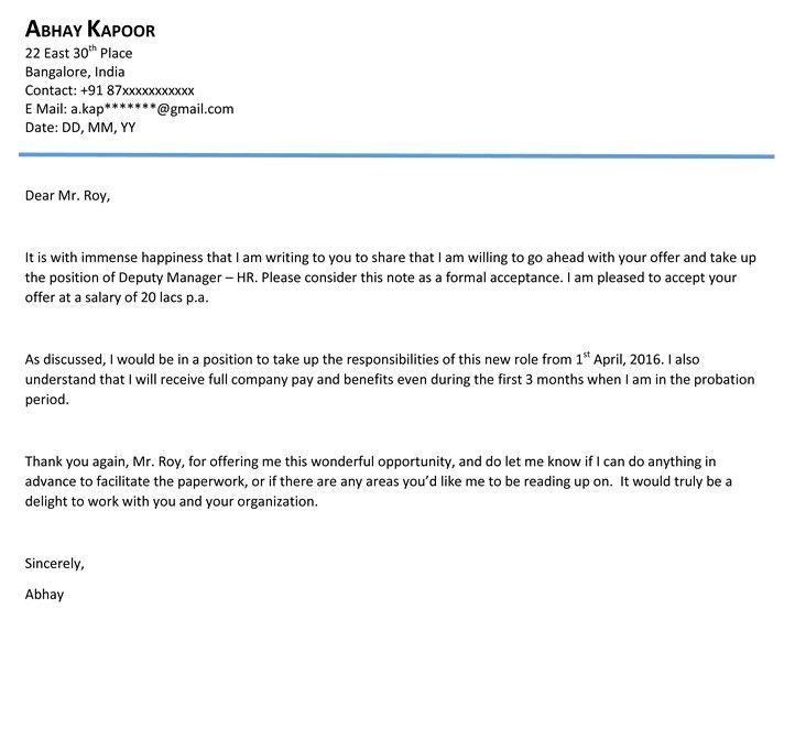 Job Acceptance Letter. Professional Job Offer Acceptance Letter ...