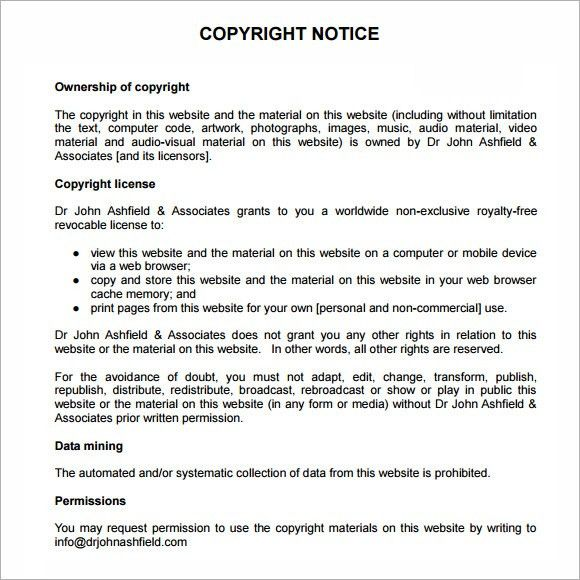 7 Best Images of Copyright Notice Example - Copyright Notice ...