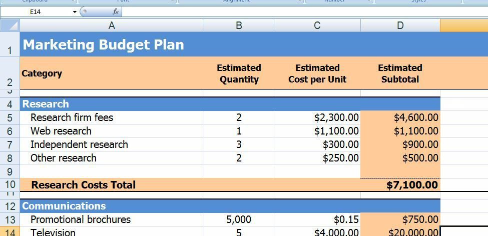 Budget Plan Template Example. Sample Marketing Budget Plan ...