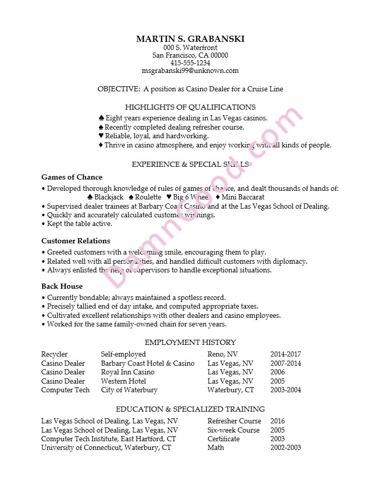No College Degree Resume Samples