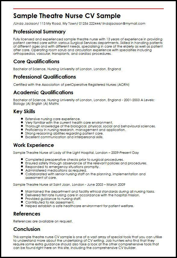 Sample Theatre Nurse CV Sample | MyperfectCV