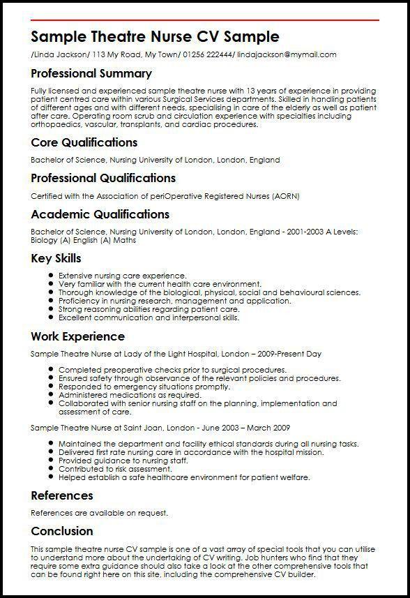 Sample Theatre Nurse CV Sample | MyperfectCV