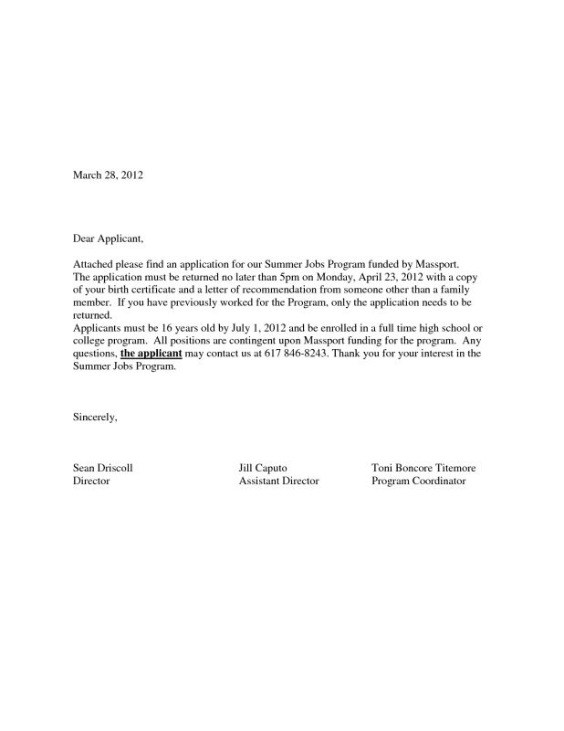cover letter A Sample Cover Letter For A Job Application a simple ...
