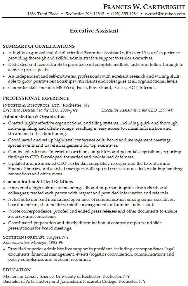 The 25+ best Administrative assistant resume ideas on Pinterest ...