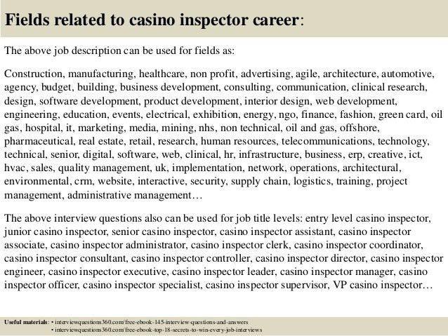 Top 10 casino inspector interview questions and answers