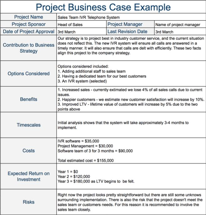 The Project Business Case - Definition and Example