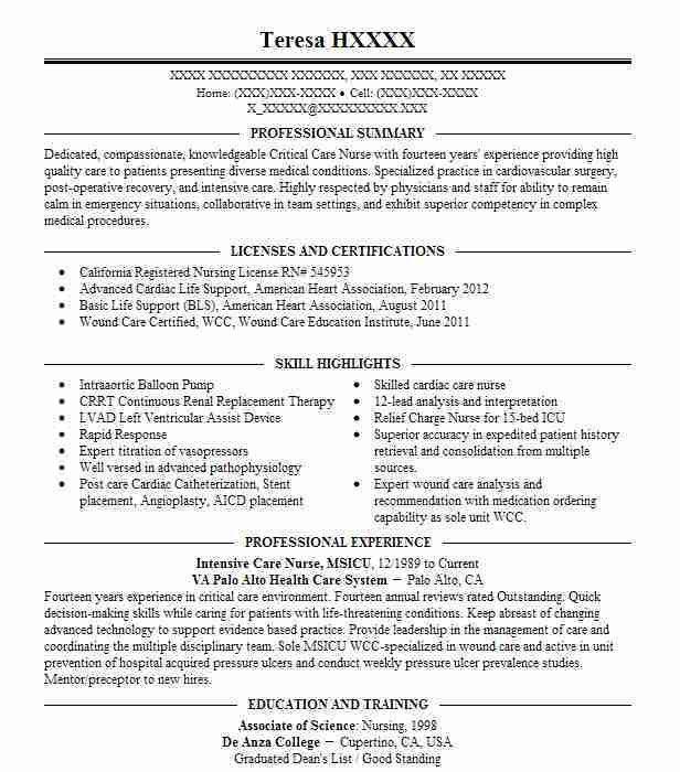 sample critical care nurse resume