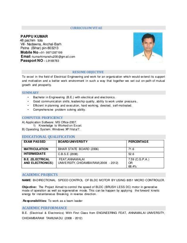 RESUME (ELECTRICAL & ELECTRONICS) ENGINEERING