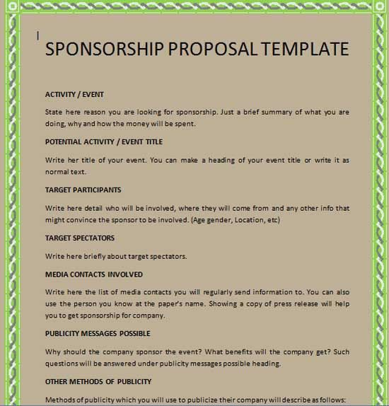 Sponsorship Proposal Template | Cyberuse  Free Racing Sponsorship Proposal Template